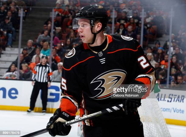 Ondrej Kase of the Anaheim Ducks looks over playing against the Vegas Golden Knights on December 27 2017 at Honda Center in Anaheim California