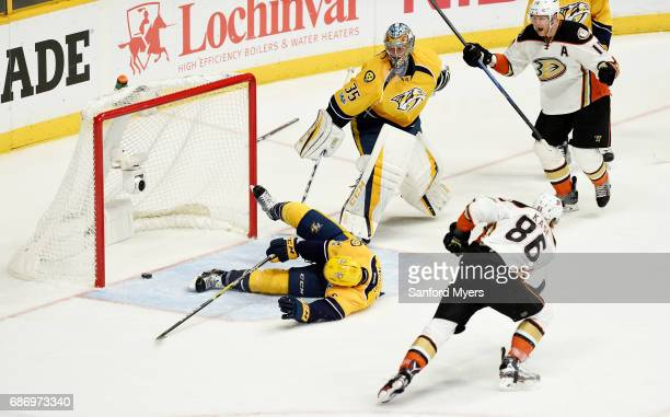 Ondrej Kase of the Anaheim Ducks scores a goal against Pekka Rinne and Matt Irwin of the Nashville Predators during the second period in Game Six of...