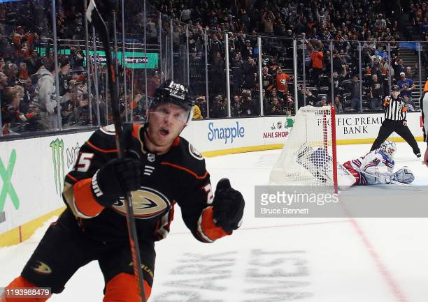 Ondrej Kase of the Anaheim Ducks scores in the shootout against Henrik Lundqvist of the New York Rangers at the Honda Center on December 14 2019 in...