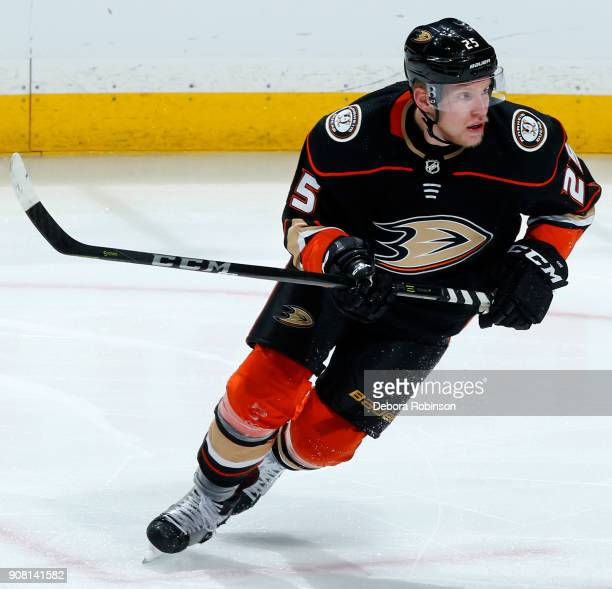 Ondrej Kase of the Anaheim Ducks skates during the game against the Pittsburgh Penguins on January 17 2018 at Honda Center in Anaheim California