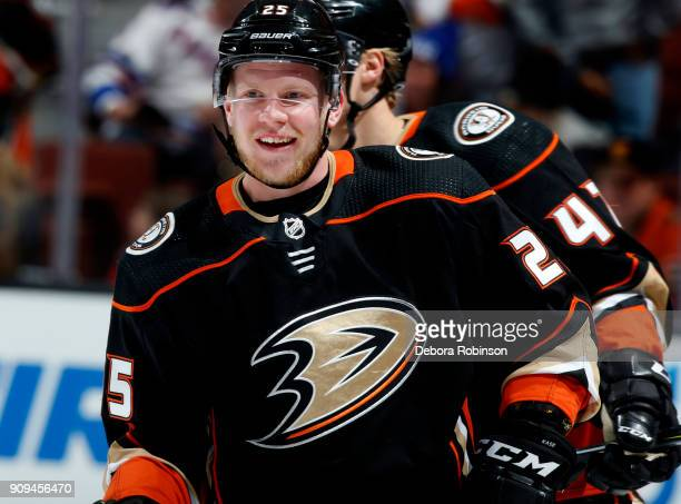 Ondrej Kase of the Anaheim Ducks skates in warmups prior to the game against the New York Rangers on January 23 2018 at Honda Center in Anaheim...
