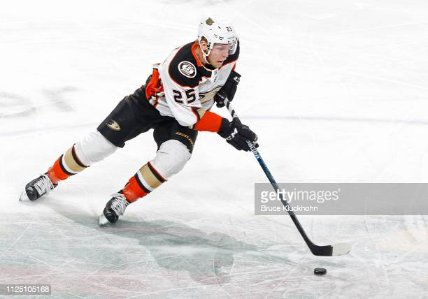 Ondrej Kase of the Anaheim Ducks skates with the puck during a game with the Minnesota Wild at Xcel Energy Center on January 17 2018 in St Paul...