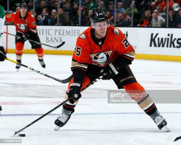 Ondrej Kase of the Anaheim Ducks skates with the puck during the game against the Dallas Stars at Honda Center on January 9 2020 in Anaheim California