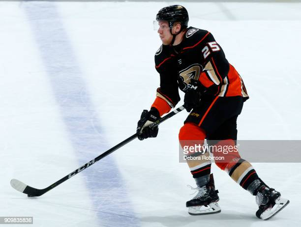 Ondrej Kase of the Anaheim Ducks skates with the puck during the game against the San Jose Sharks on January 21 2018 at Honda Center in Anaheim...