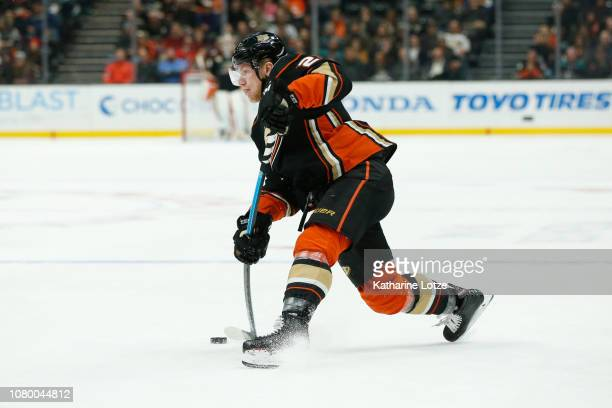 Ondrej Kase of the Anaheim Ducks takes a shot on goal against the New Jersey Devils at Honda Center on December 09 2018 in Anaheim California