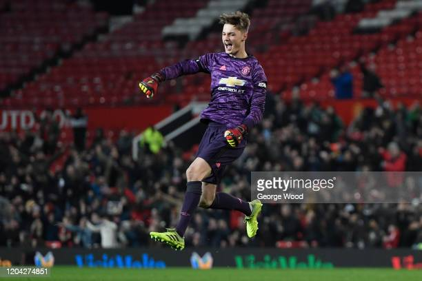Ondrej Mastny of Manchester United celebrates after his sides first goal during the FA Youth Cup: Fifth Round match between Manchester United and...