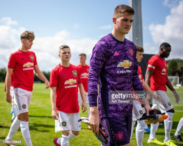 Ondrej Mastny of Manchester United U18s walks out ahead of the U18 Premier League match between Wolverhampton Wanderers U18s and Manchester United...