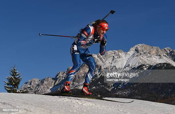 Ondrej Moravec of Chech competes in the men's 10 km sprint event during the IBU Biathlon World Cup on December 12 2014 in Hochfilzen Austria
