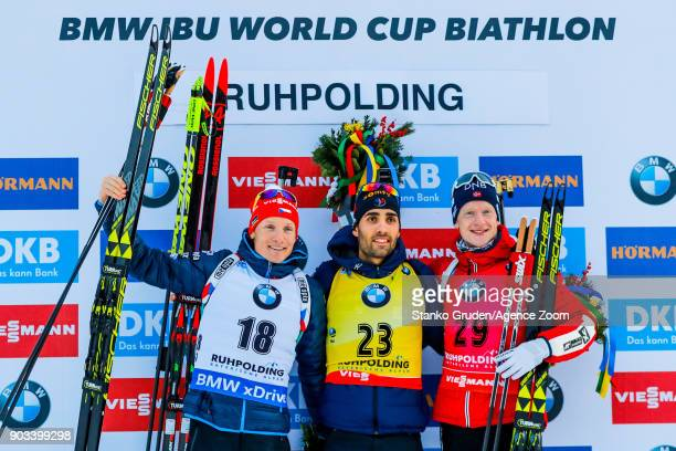 Ondrej Moravec of Czech Republic takes 2nd place Martin Fourcade of France takes 1st place Johannes Thingnes Boe of Norway takes 3rd place during the...