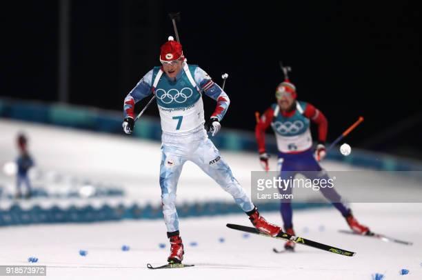 Ondrej Moravec of the Czech Republic finishes during the Men's 20km Individual Biathlon at Alpensia Biathlon Centre on February 15 2018 in...