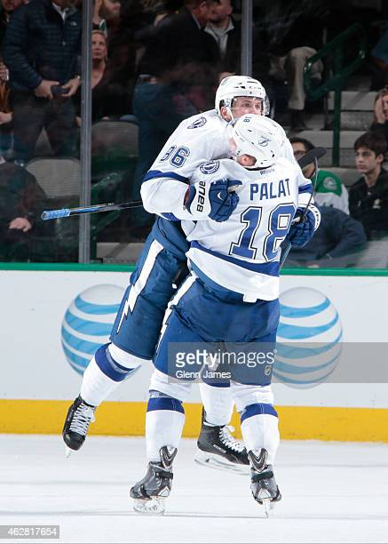 Ondrej Palat and Nikita Kucherov of the Tampa Bay Lightning celebrate a goal against the Dallas Stars at the American Airlines Center on February 5...