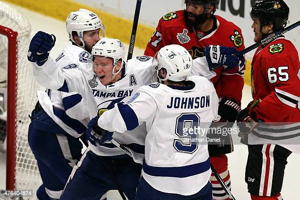Ondrej Palat and Tyler Johnson of the Tampa Bay Lightning celebrate a goal against the Chicago Blackhawks during Game Three of the 2015 NHL Stanley...