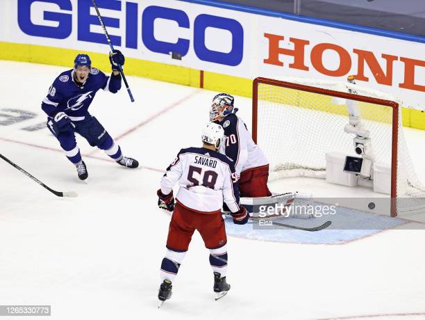 Ondrej Palat celebrates the game winning goal by Brayden Point and the Tampa Bay Lightning against the Columbus Blue Jackets at 1027 of the fifth...