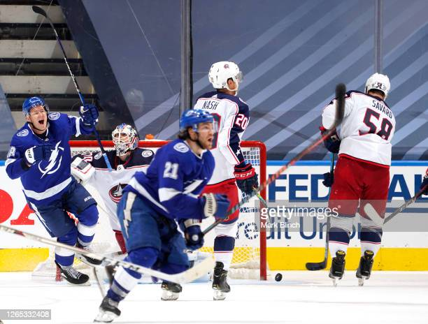 Ondrej Palat of the Tampa Bay Lightning celebrates after Brayden Point scored the game winning goal at 10:27 in the fifth overtime to win Game One of...