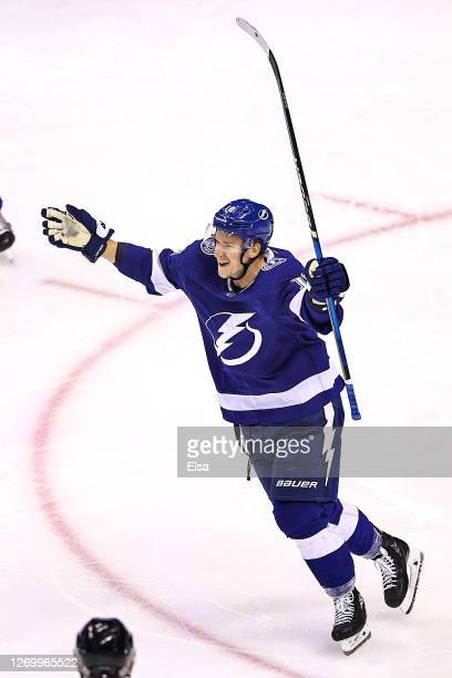 Ondrej Palat of the Tampa Bay Lightning celebrates after scoring a goal against the Boston Bruins during the second period in Game Five of the...