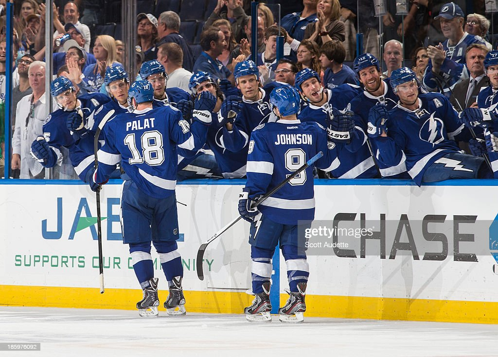 Ondrej Palat #18 of the Tampa Bay Lightning celebrates his goal with teammates during the third period against the Buffalo Sabres at the Tampa Bay Times Forum on October 26, 2013 in Tampa, Florida.