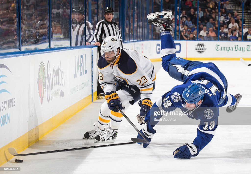 Ondrej Palat #18 of the Tampa Bay Lightning losses his balance while chasing the puck against Ville Leino #23 of the Buffalo Sabres during the second period at the Tampa Bay Times Forum on October 26, 2013 in Tampa, Florida.