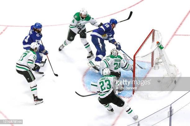 Ondrej Palat of the Tampa Bay Lightning scores a goal past Anton Khudobin of the Dallas Stars during the second period in Game Five of the 2020 NHL...