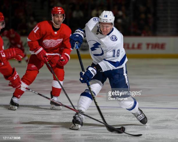 Ondrej Palat of the Tampa Bay Lightning shoots the puck against the Detroit Red Wings during an NHL game at Little Caesars Arena on March 8, 2020 in...