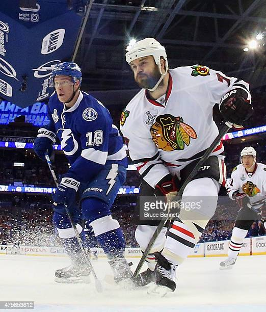 Ondrej Palat of the Tampa Bay Lightning skates against Brent Seabrook of the Chicago Blackhawks during Game One of the 2015 NHL Stanley Cup Final at...
