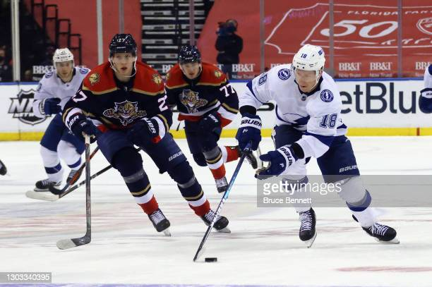 Ondrej Palat of the Tampa Bay Lightning skates against the Florida Panthers at the BB&T Center on February 13, 2021 in Sunrise, Florida.