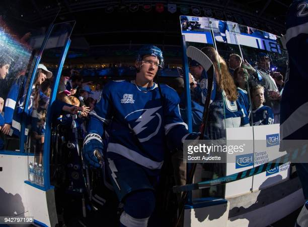 Ondrej Palat of the Tampa Bay Lightning steps out to the ice for the pregame warm ups against the Buffalo Sabres at Amalie Arena on April 6 2018 in...