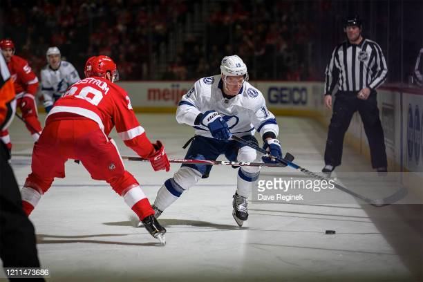 Ondrej Palat of the Tampa Bay Lightning tries to skate by the defense of Gustav Lindstrom of the Detroit Red Wings during an NHL game at Little...