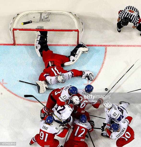 Ondrej Pavelec of Czech Republic tends net against France during the IIHF World Championship group A match between Czech Republic and France at o2...