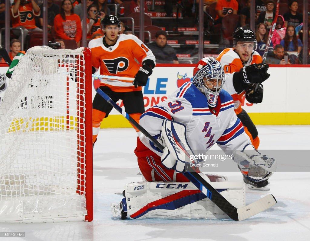 Ondrej Pavelec #31 of the New York Rangers tends net against the Philadelphia Flyers during the second period during a preseason game at the Wells Fargo Center on September 26, 2017 in Philadelphia, Pennsylvania.