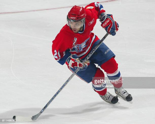 Ondrej Roman of the Spokane Chiefs skates against the Kitchener Rangers in a Memorial Cup round robin game on May 18 2008 at the Kitchener Memorial...