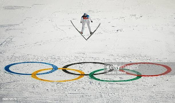 Ondrej Vaculik of the Czech Republic competes in the Large Hill Individual Ski Jumping Final on Day 8 of the 2006 Turin Winter Olympic Games on...