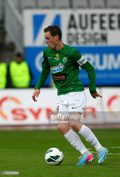 Ondrej Vanek of FK Jablonec in action during the Czech First League match between FK Jablonec and SK Sigma Olomouc held on May 26, 2013 at the Chance...