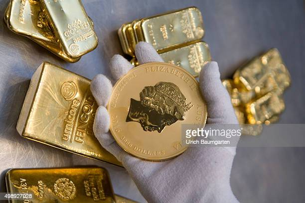 One 125 kg gold bullion 1 kg gold bullions and the Australian Nugget in the strong room of pro aurum goldhouse in Munich