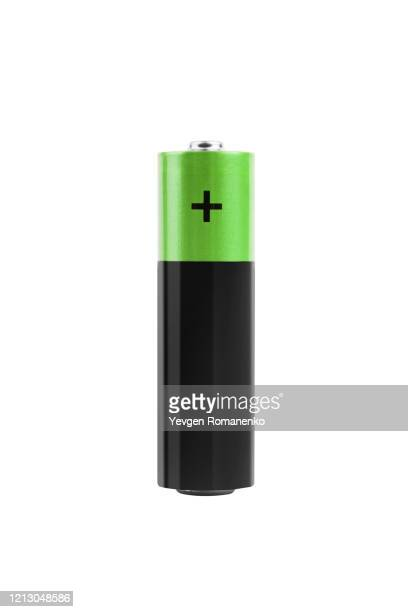 one aa battery isolated on white, with clipping path - 電源 ストックフォトと画像