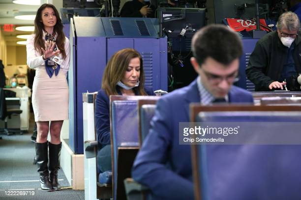 One America News Network reporter Chanel Rion asks a question during White House Press Secretary Kayleigh McEnany's first oncamera news conference in...