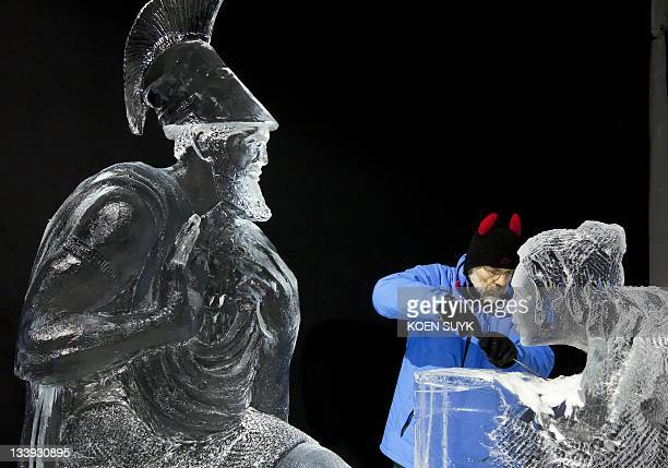 One among somet 40 professional artists from the world make ice and snow sculptures in Zwolle The Netherlands on November 22 2011 The sculptures can...