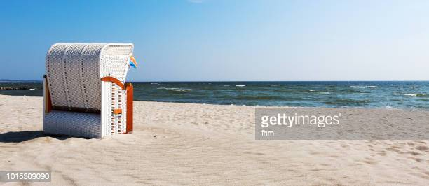One beach chair on the beach (Timmendorfer Strand, Schleswig-Holstein, Germany)