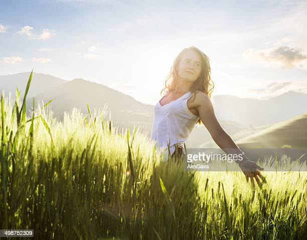 one beautiful woman in nature