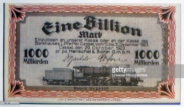 One Billion Mark Note December 1923 The hyperinflation that followed the First World War saw real suffering in Germany when notes like this would...