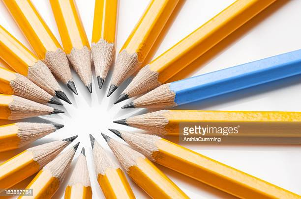 One blue pencil stands out from the yellow ones