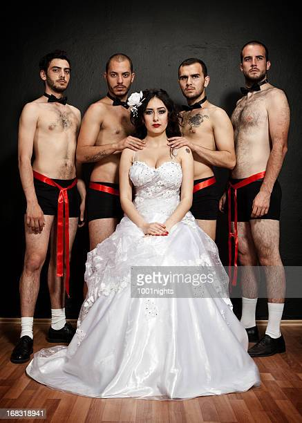 one bride four grooms - hairy men stock photos and pictures