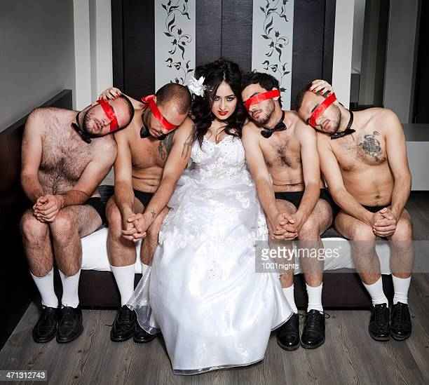 one bride four grooms - blindfolded bride stock pictures, royalty-free photos & images