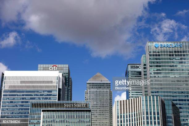 One Canada Square centre which houses the European Banking Authority stands in the Canary Wharf financial business and shopping district in London UK...
