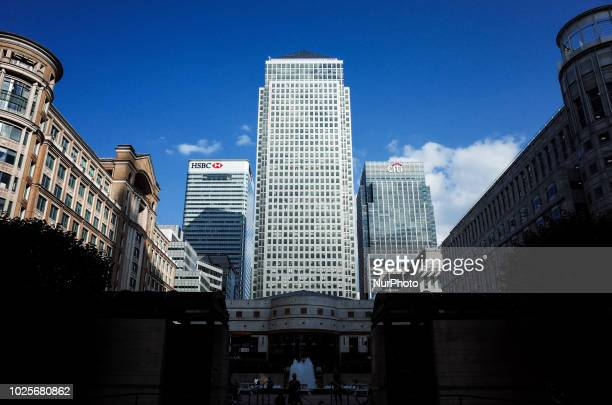 One Canada Square stands alongside the HSBC and Citigroup towers in the Canary Wharf financial district on the Isle of Dogs in London England on...