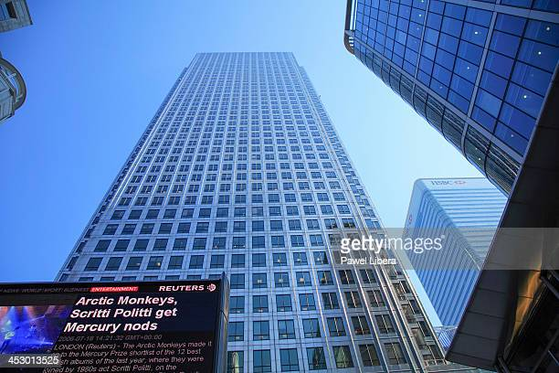 One Canada Square Tower aka Canary Wharf in London's Docklands Financial District