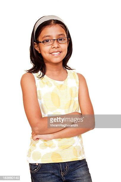 One Casual Cheerful Little Indian Girl Isolated on White