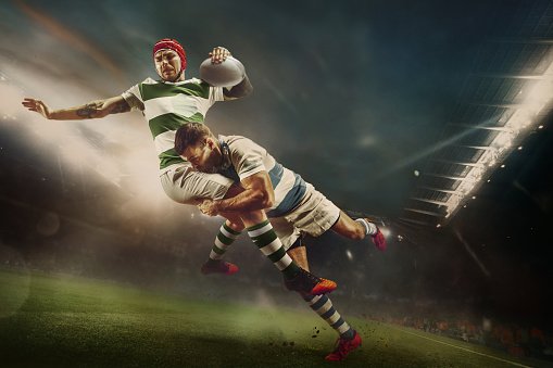 One caucasian rugby male player in action 1149210761