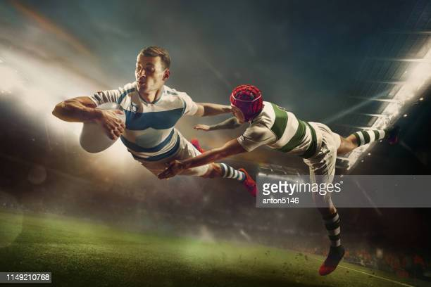 one caucasian rugby male player in action - team sport stock pictures, royalty-free photos & images