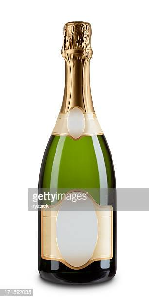 one champagne bottle with blank label isolated on white - fles stockfoto's en -beelden