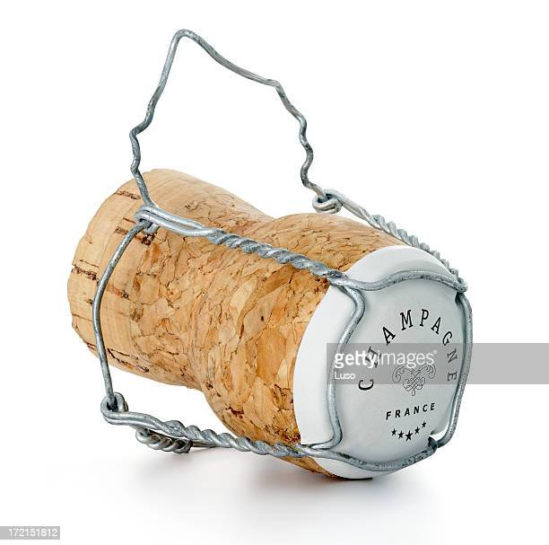 one champagne cork (serie of images) - champagne cork stock photos and pictures